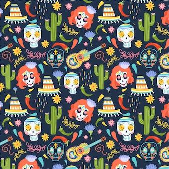 Dia de muertos-patroon in plat ontwerp