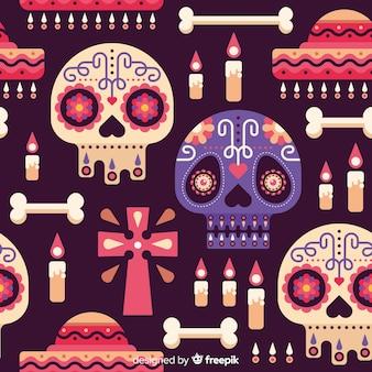 Dia de muertos patroon op plat ontwerp