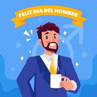 Dia del hombre illustratie in plat ontwerp