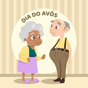 Dia dos avós illustratiestijl