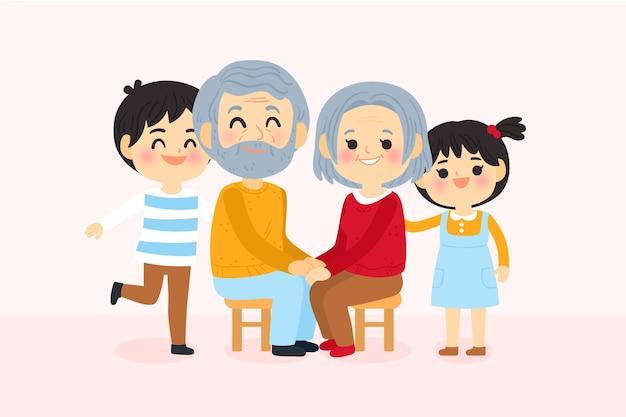 Dia dos avós met kleinkinderen