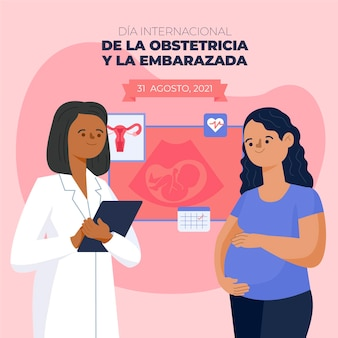 Dia internacional de la obstetricia y la embarazada illustration