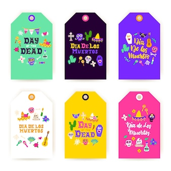 Dia los muertos-geschenketiketten. vectorillustratie van mexicaanse vakantie winkelen tags.