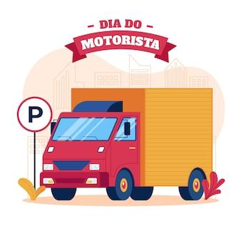 Dia motorista illustratie met vrachtwagen