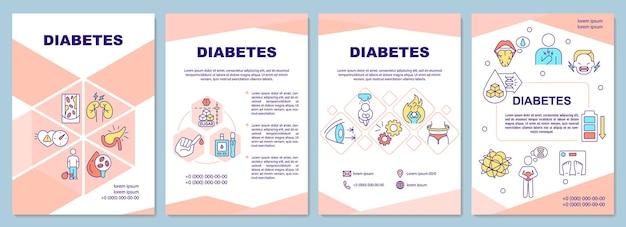 Diabetes brochure sjabloon. speciaal dieet voor zieke mensen. flyer, boekje, folder afdrukken, omslagontwerp met lineaire pictogrammen.