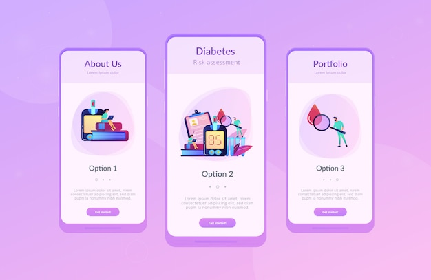 Diabetes mellitus app interface sjabloon.