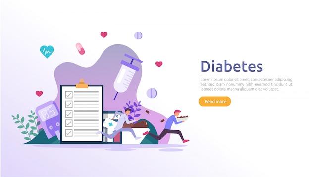 Diabetes mellitus monitoring concept. bloedsuikerspiegel met glucosetestmeter. insuline-injectiebehandeling en dieetcontroletherapie. illustratie sjabloon voor web-bestemmingspagina