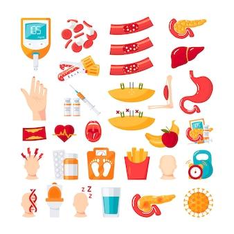 Diabetes mellitus ziekte. set van pictogrammen in vlakke stijl Premium Vector