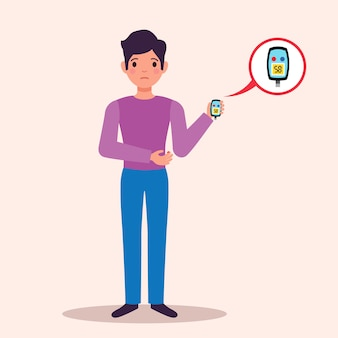 Diabetes patiënt met bloedglucosemeter monitor met testresultaat vlakke karakter medische reclame