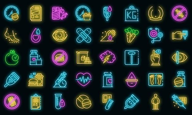 Diabetes pictogrammen instellen. overzichtsreeks diabetes vectorpictogrammen neonkleur op zwart
