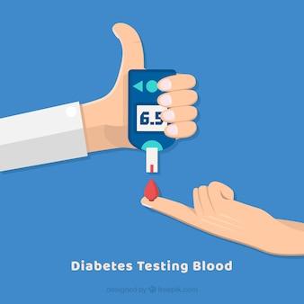 Diabetes testen van bloed samenstelling met een plat ontwerp