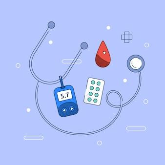 Diabetesconcept in plat ontwerp