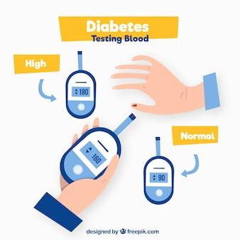 Diabetici die bloed testen met een plat ontwerp