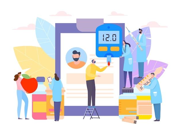 Diabetische zorg door arts en insuline illustratie