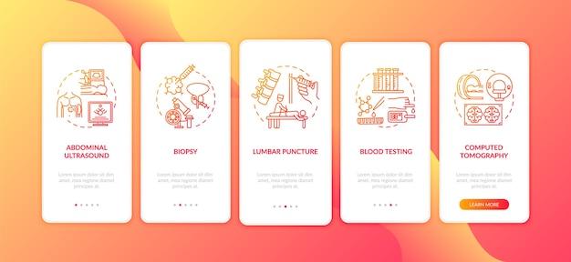 Diagnostische procedures voor het onboarding van het mobiele app-paginascherm met concepten
