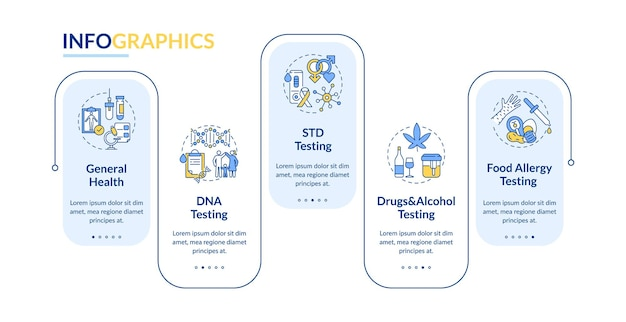 Diagnostische tests infographic sjabloon illustratie