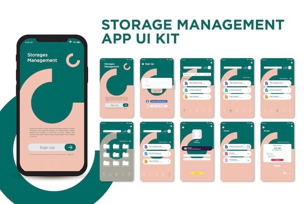 Diagonaal geometrisch opslagbeheer-app ui kit-sjabloonontwerp