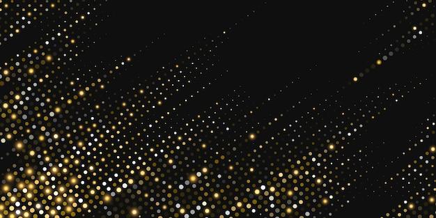 Diagonale abstracte gouden glinsterende halftoonachtergrond