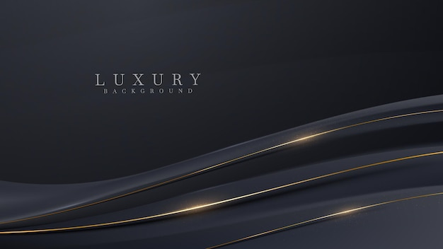 Diagonale gouden krommelijnen schitteren luxe op zwarte achtergrond, cover moderne ontwerpconcept, vectorillustratie.