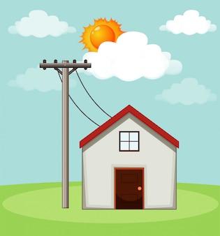 Diagram dat laat zien hoe zonnecellen thuis werken
