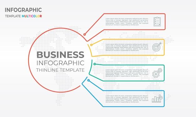 Diagram infographic sjabloon 4 opties
