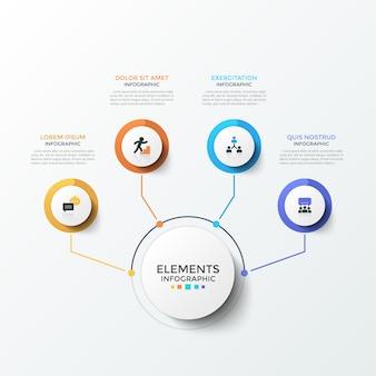 Diagram met 4 papieren witte ronde elementen met platte pictogrammen binnenin verbonden met de hoofdcirkel door lijnen. concept van vier zakelijke functies. creatieve infographic ontwerpsjabloon. moderne vectorillustratie.