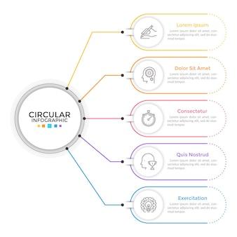 Diagram met 65 elementen verbonden met hoofdcirkel. concept van vijf kenmerken of stadia van bedrijfsproces. lineaire infographic ontwerpsjabloon. moderne vectorillustratie voor presentatie, verslag.