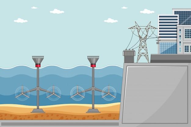 Diagram met turbines onder de zee