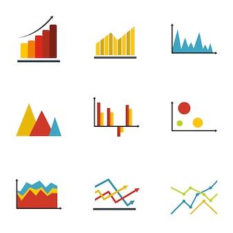 Diagram pictogrammenset, vlakke stijl