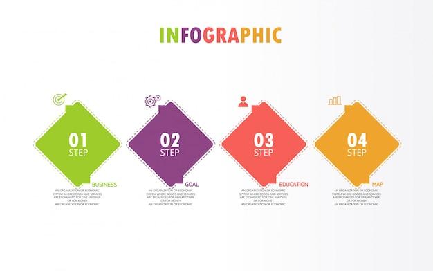 Diagram zakelijk en onderwijs in stap 4 stappen ontwerp illustratie