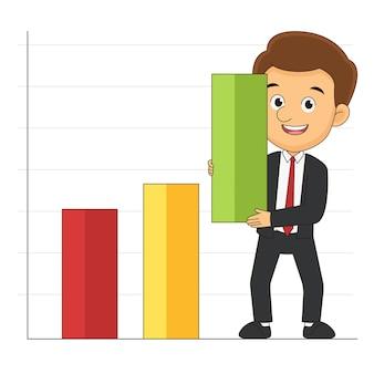 Diagrammen met een zakenman, zakelijke gegevens van de markt