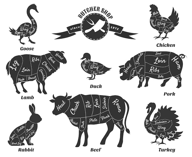 Diagrammen voor slagerij set