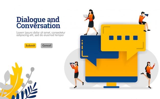 Dialoog en gesprek met bellendialoog en vector de illustratieconcept van het monitorscherm