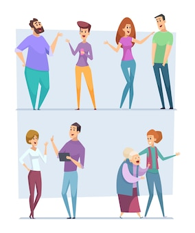 Dialoog mensen. uitdrukking tekens wijzen naar boven toespraak personen gesprek menigte vector boodschappers pratende mensen vector afbeeldingen. mensen communicatie groep, man en vrouw illustratie