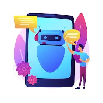 Dialoog met chatbot. kunstmatige intelligentie antwoord op vraag. technische ondersteuning, instant messaging, hotline-operator. ai-assistent. client bot-consultant. geïsoleerde concept metafoor illustratie.