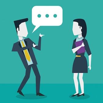 Dialoog tussen zakenman en zakenvrouw