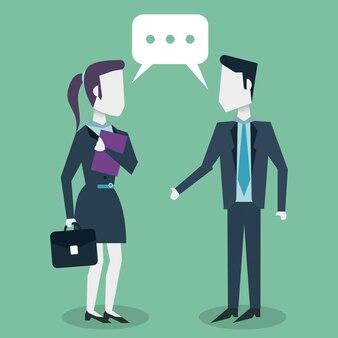 Dialoog tussen zakenvrouw en ondernemer