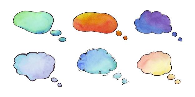 Dialoogwolk aquarel set aquarel van tekstballon tekstvak wolk van chat voor commentaar post