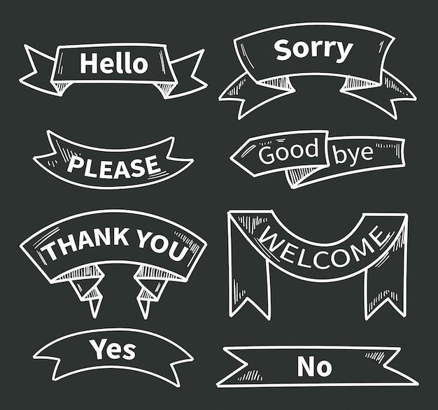 Dialoogwoorden op linten. korte zinnen. bedankt en hallo, alsjeblieft en ja, sorry en welkom. lintsticker dank u op schoolbord. vector illustratie