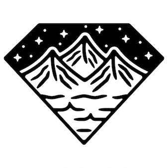 Diamant berg monoline vintage outdoor buik ontwerp
