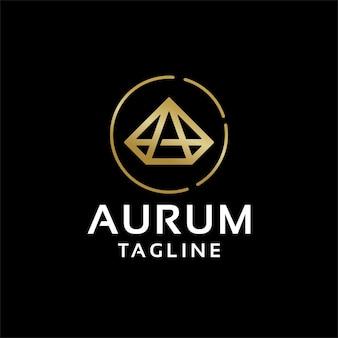 Diamant edelstenen eerste letter a logo ontwerpsjabloon