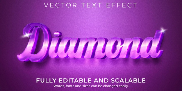 Diamant elegant teksteffect bewerkbare glanzende en paarse tekststijl