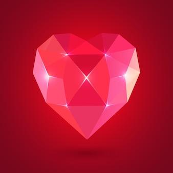 Diamant hartvorm, formaat voor valentijn.