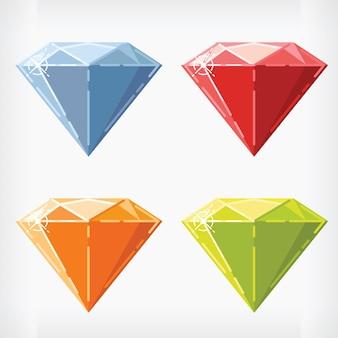 Diamant in vlakke stijl edelsteen juweel cartoon