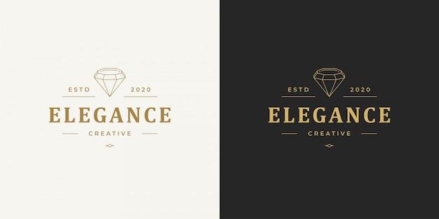 Diamant lijn logo embleem ontwerp sjabloon illustratie eenvoudige minimale lineaire stijl