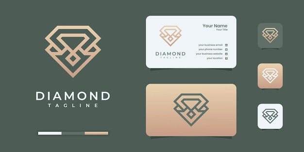 Diamant logo met gouden oneindigheid lijn kunst stijl logo ontwerpsjabloon.