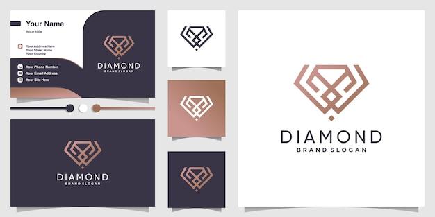 Diamant logo sjabloon met modern minimalistisch concept premium vector