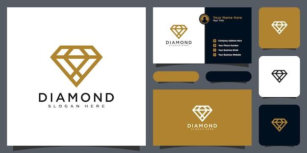 Diamant logo vector ontwerpen mono lijn met visitekaartje