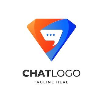 Diamant met chat pictogram logo ontwerp