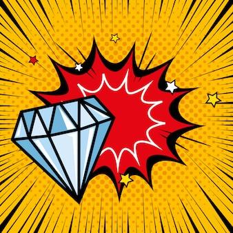 Diamant met explosie pop-art stijl